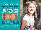 Awesomest Grandpa Stripes 7x5 Folded Card