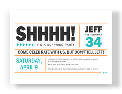 Block Lettering Surprise Party Invitation 7x5 Flat Card