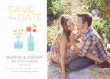 Whimsical Floral Photo Save-the-date 7x5 Flat Card