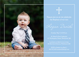 Photo Baptism Invitation - Boy 7x5 Flat Card