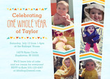 Chevron Design First Birthday Invitation 7x5 Flat Card