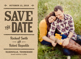 Rustic Kraft Paper Save-the-date 7x5 Flat Card