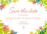 Vintage Floral Save-the-date 7x5 Flat Card