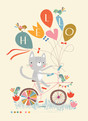 Cat on Bike with Balloons 3.75x5.25 Folded Card