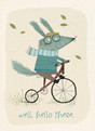 Cute Character on Bike 3.75x5.25 Folded Card