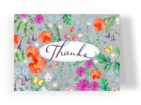 Traditional Floral Thanks 5.25x3.75 Folded Card
