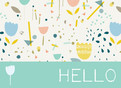 Floral and Raindrop Pattern Hello 5.25x3.75 Folded Card