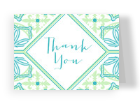 Teal and Green Pattern Thank You 5.25x3.75 Folded Card