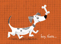 Dog with Bone Hello 5.25x3.75 Folded Card