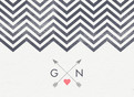 Monograms and Chevrons with Arrows 5.25x3.75 Folded Card