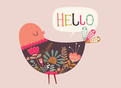 Hello Bird 5.25x3.75 Folded Card
