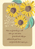 Vintage-look Sunflowers Friendship 5x7 Folded Card