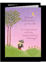 Bear Under Moon Sympathy 5x7 Folded Card