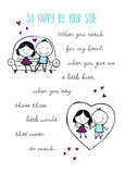 Cute Romantic Stick Figures 5x7 Folded Card