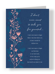 Pink Graphic Love Floral on Blue 5x7 Folded Card