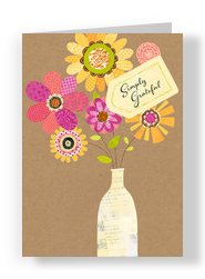 Cut Paper Thank You Floral 5x7 Folded Card