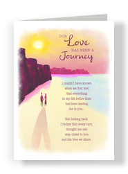 Romantic Watercolor Beach Scene 5x7 Folded Card