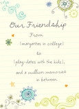 Friendship Doodle Design 5x7 Folded Card