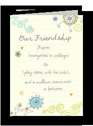 Friendship Doodle Design 5x7 Folded Card