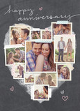 Photo Collage Heart Anniversary Card 5x7 Folded Card