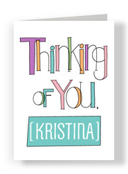 Colorful Lettering Thinking of You 5x7 Folded Card