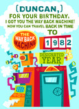 Birthday Time Machine 5x7 Folded Card