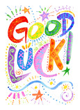Bold and Colorful Good Luck Lettering 5x7 Folded Card