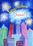 Fireworks Congratulations 5x7 Folded Card