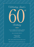 Blue Stripes 60th Birthday Invitation 5x7 Flat Card