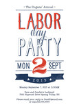 Red, White & Blue Labor Day Invite 5x7 Flat Card
