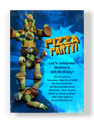Ninja Turtle Pizza Party Invitation 5x7 Flat Card