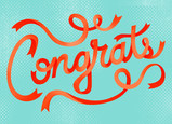 Congrats Ribbon Design 7x5 Folded Card