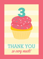 Pink Cupcake Thank You 3.75x5.25 Folded Card