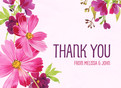 Purple Floral Thank You 5.25x3.75 Folded Card