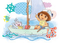 Dora & Boots in Sailboat 5.25x3.75 Folded Card