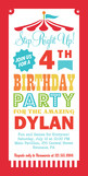 Big Top Birthday Invitation 4x8 Flat Card
