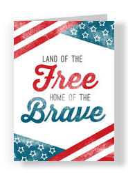 American Flag Design and Lettering 5x7 Folded Card