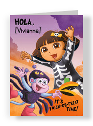 Dora & Boots in Halloween Costumes 5x7 Folded Card