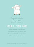 Baptism - Cute Lamb on Aqua 5x7 Flat Card