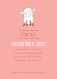 Baptism - Cute Lamb on Pink 5x7 Flat Card