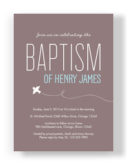 Baptism - Gray with Blue Name 5x7 Flat Card