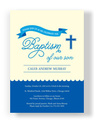 Baptism - Blue Ribbon with Cross 5x7 Flat Card