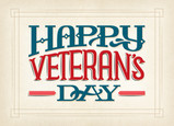 Veteran's Day Lettering 7x5 Folded Card