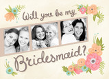 Bridesmaid Photo-strip with Floral 7x5 Folded Card
