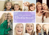 Bridesmaid Multi-photo with Watercolor 7x5 Folded Card