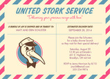 United Stork Service Baby Shower 7x5 Flat Card