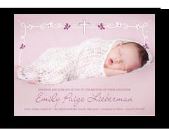 Baptism - White & Purple Line Art Invite 7x5 Flat Card
