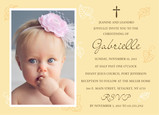 Baptism Invite with Line Art Leaves 7x5 Flat Card