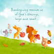 Thanksgiving Blessings Cute Critters 4.75x4.75 Folded Card