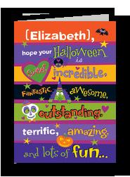 Kids Halloween Lettering Design 5x7 Folded Card